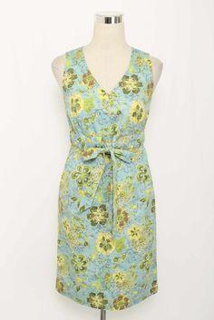 Blue & Green Floral Print V-Neck Sleeveless Cotton Dress Size S 2489 L1215