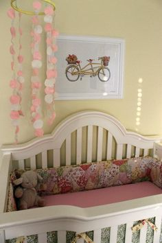 Pink, yellow and green nursery