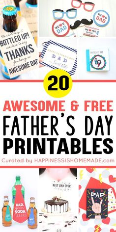 20 FREE Father's Day Printables - Looking for FREE Father's Day printables? We've got you covered with printable Father's Day cards, coloring pages, coupons, gift ideas, and more! Diy Father's Day Gifts Easy, Father's Day Diy, Gifts For Dad, Fathers Day Crafts, Happy Fathers Day, Fathers Day Ideas, Free Fathers Day Cards, Mason Jar Crafts, Mason Jar Diy