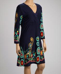 Look at this #zulilyfind! Navy Floral Status Surplice Dress - Plus by Reborn Collection #zulilyfinds