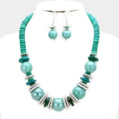 Designer Inspired Chunky Turquoise Bead & Wood Disc Cluster Bib Necklace 335773 in Jewelry & Watches, Fashion Jewelry, Necklaces & Pendants | eBay