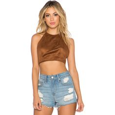 OH MY LOVE Suede It Up Crop Top Tops ($58) ❤ liked on Polyvore