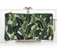 Banana leaf clutch from Charlotte Olympia...love it! Chic lucite..very mod!