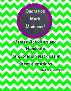 Quotation Mark Madeness from cbstiltner on TeachersNotebook.com -  (14 pages)  - Quotation Marks