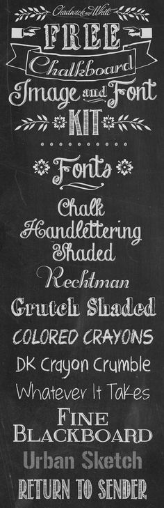Free Chalkboard Fonts and Images Kit                                                                                                                                                                                 More