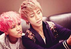Zelo & Daehyun. Zelo's pink hair!!! :D