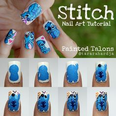"""""""💗💗 Stitch Nails Tutorial 💗💗 Step by step for the thumb nail. Base color is Max Factor& Snow White. All details were made with acrylic paint. And ofc, i…"""" Disney Acrylic Nails, Cute Acrylic Nails, Fun Nails, Disney Nail Designs, Nail Art Designs, Nails Design, Trendy Nail Art, Cute Nail Art, Lelo And Stitch"""