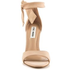 Steve Madden Women's Bowwtye - Blush Nubuck (€89) ❤ liked on Polyvore featuring shoes, stiletto high heel shoes, ankle strap stilettos, ankle strap shoes, high heel stilettos and tie shoes