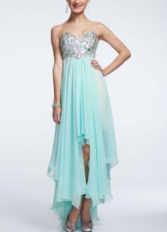 Strapless high low prom dress with stone bodice david 39 s for High low wedding dress davids bridal
