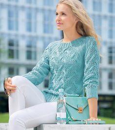 Ажурный свитер спицами