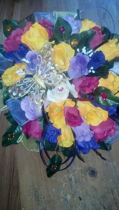 Bridal BLiNG wedding bouquet with Butterfly....$98.95...The Sugar Shack General Store....Edgar, Nebraska