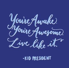 Day 104: Youre awake. Youre awesome. Live like it. Kid President.