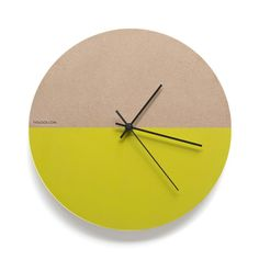 Mellow contemporary yellow wall clock with a silent sweep mechanism and black Density Fibreboard (MDF)Delivery - 8 weeks