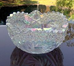 Carnival Glass in white. Oh my do I want this