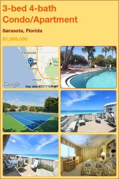 3-bed 4-bath Condo/Apartment in Sarasota, Florida ►$1,999,000 #PropertyForSale #RealEstate #Florida http://florida-magic.com/properties/9873-condo-apartment-for-sale-in-sarasota-florida-with-3-bedroom-4-bathroom