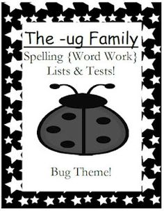 Fern Smith's Classroom Ideas!: FREEBIE ~ The -ug Family Spelling {Word Work} Lists & Tests $0