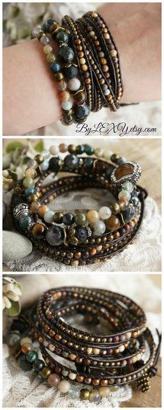 "Set of 3 Boho ""Earthtones"" 5x Leather Wrap Stack Bracelets, Bohemian Rustic Gypsy Earthy Crystal Gemstone Maltilayer Multistrand Jewelry ByLEXY"