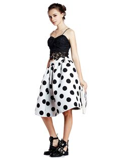 White Polka Dot Skater Skirt | Choies