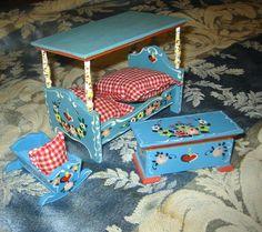 Dora Kuhn German Bedroom Dollhouse  Furniture Set. $80.00, via Etsy. I had the baby crib!