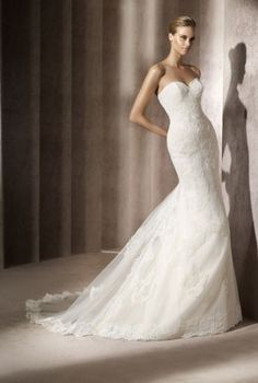 Pronovias Balear.  Like the Menorca, but with a sweetheart neckline.  Same accordion underlay!  If I could find it with a scoop neckline instead...