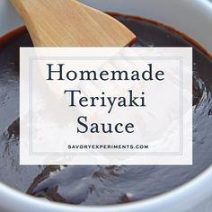 Teriyaki Sauce can be made into an easy teriyaki marinade or glaze. Perfect for teriyaki chicken, easy stir fry recipe or even making homemade beef jerky. Mango Sauce For Chicken, Chicken Teriyaki Sauce, Mushroom Sauce For Chicken, Teriyaki Glaze, Teriyaki Beef, Teriyaki Marinade, Homemade Beef Jerky, Homemade Teriyaki Sauce, Homemade Sauce