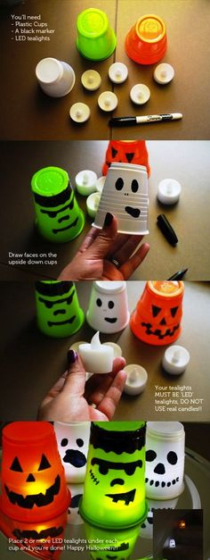 DIY Halloween Lanters diy craft halloween crafts how to tutorials halloween decorations halloween crafts halloween diy halloween decor crafts for kids Halloween Hacks, Soirée Halloween, Hallowen Ideas, Halloween Birthday, Halloween Projects, Holidays Halloween, Halloween Clothes, Halloween Candles, Homemade Halloween
