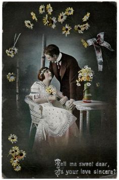 "See on ebay: http://ebay.to/1yho1EE  This is a really beautiful hand colored photo postcard with bright silver stamping (the scan doesn't show how pretty it is when the light hits it). The message on the front says, ""Tell me sweet dear, Is your love sincere?"" The detail in this postcard is amazing compared to other cards of this type."