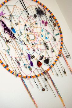 CUSTOM Large Dreamcatcher Hula Hoop Earring Necklace Jewelry Holder Hippie Bohemian