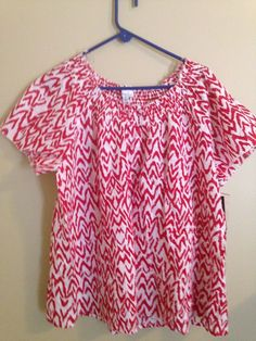 Kim Rodgers Red White Pattern Top SZ 2X NWT #KimRogers #Blouse #Casual