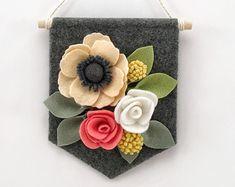 Felt Floral Banner Winter Mint Floral Decor от HavenCharlotte