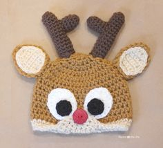 Repeat Crafter Me: Crochet Reindeer Antlers FREE Pattern. The original antlers and eyes were felt. ✿⊱╮Teresa Restegui http://www.pinterest.com/teretegui/✿⊱╮