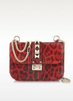 Valentino Garavani Red Calfhair Animal Print Shoulder Bag