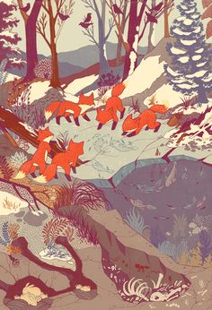 "Amazing ""Fisher Fox"" illustration/print by Teagan White. Fox Illustration, Creative Illustration, Art Illustrations, Poster Art, Print Poster, Fox Art, Woodland Creatures, Art Design, Creative Design"