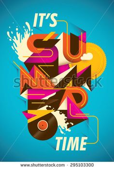 Abstract summer time poster. Vector illustration.