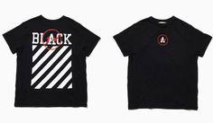 the POOL aoyama|ザ・プール青山「OFF-BLACK ℅ VIRGIL ABLOH(オフ-ブラック ℅ ヴァージル アブロー)」 STRIPE LOGO TEE(BLACK)3万3480円