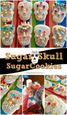 These sugar skull sugar cookies are easy to bake and decorate. After baking this roll out cookie recipe, the kids decorated these day of the dead inspired snacks.