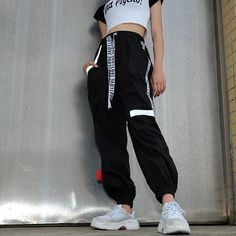 Women's Autumn High-Waist Striped Patchwork Fitness Pants Teen Fashion Outfits, Edgy Outfits, Mode Outfits, Korean Outfits, Grunge Outfits, Dance Outfits, Fashion Pants, Girl Fashion, Girl Outfits