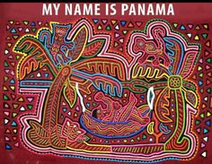 Mola from Panama created by an unknown Kuna Indian woman: Man Resting in Tropical Hammock Reverse Applique, Textiles, Watercolor Trees, Woman Drawing, Fauna, Geometric Designs, Indian Art, Handmade Art, Textile Art
