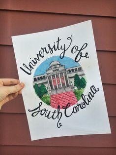 University of South Carolina Watercolor by colormechrista on Etsy