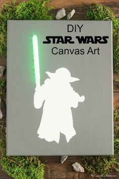 DIY Star Wars Lighted Canvas Art - Baby Star Wars - Ideas of Baby Star Wars - Create a DIY Star Wars Lighted Canvas Art that is super cool! You can make your own just in time before the new Star Wars movie comes to theaters. Star Wars Crafts, Star Wars Decor, Star Wars Birthday, Star Wars Party, 23rd Birthday, Diy Birthday, Star Wars Navidad, Star Wars Weihnachten, Regalos Star Wars
