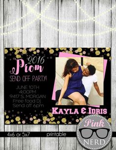 Prom send off party invitation college send by PinkNerdPrintables