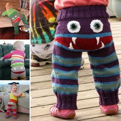 Grumpy Bum Monster Pants - free knitting pattern from The Wandering Lady. These are an adorable knitting pattern and would work well for Halloween! Knitting For Kids, Loom Knitting, Free Knitting, Knitting Projects, Baby Knitting, Crochet Projects, Knitting Patterns, Crochet Patterns, Sewing Patterns