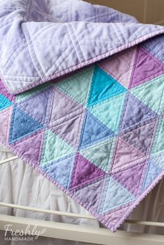 Freshly Handmade: Purple and Turquoise Triangle Quilt: Finished ...and a Free Pattern