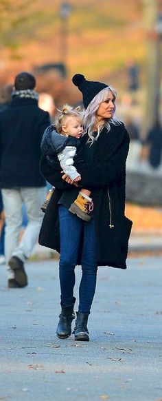 Lou Teasdale with baby Lux NYC 2Dec