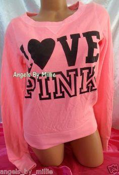 New Victoria's Secret Pink L Neon Coral Campus Heart Signature Crew sweat Shirt   eBay