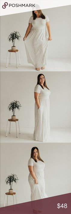 PLUS Babydoll striped maxi dress with pockets Ivory/Charcoal. *Slightly sheer* Rayon Spandex. Model is 5'7 wearing a size 2XL. Dresses Maxi