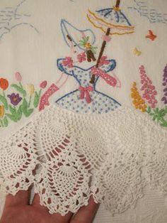 vintage linen pineapple pattern crochet making skirt for doilie maiden