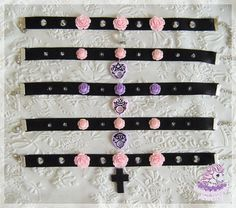 Occult chokers pastel goth style