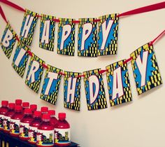 Superhero Party - city lights happy bday banner in black yellow