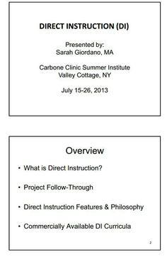 DIRECT INSTRUCTION (DI)
